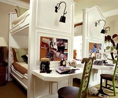 Double bunk beds with desks.