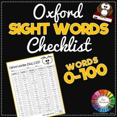 Oxford Sight Words Checklist FREEBIE. Words 0-100