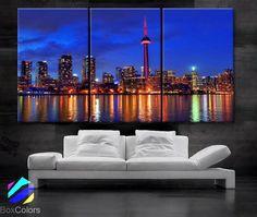 "LARGE 30""x 60"" 3 Panels Art Canvas Print Toronto Canada Skyline night light Downtown bridge Wall Home decor interior (framed 1.5"" depth)"