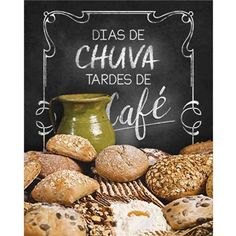 Placa Decorativa Dias de chuva tardes de café 24x19cm DHPM-181 - Litoarte Coffee Cafe, Coffee Shop, Ideas Cafe, Retro Cafe, Tea Art, Latte Art, Kitchen Art, Coffee Break, Bars For Home