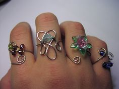 crafty jewelry: rings made of beads and wire