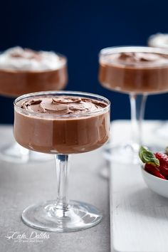 Double Chocolate Mousse (Low Carb, Egg Free and Dairy Free) My latest obsession. This 'chocolate mousse in minutes.' No eggs. And only 3 ingredients to thick, creamy and rich. Low Carb Sweets, Low Carb Desserts, Low Carb Recipes, Dessert Recipes, Healthy Desserts, Banting Desserts, Paleo Recipes, Healthy Foods, Choc Mousse