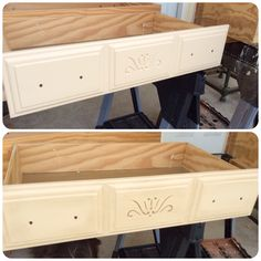 Before and after antique wax on drawers. DIY crafts