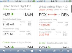 Google Flight Search Results - On mobile, Google flight status results include an airplane placed on a line at a point relative to its flight progress. Color communicates whether the flight is on time or not. /via Erin Olmon