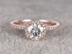 Rose Gold Moissanite Engagement Ring | As seen on @aislesociety