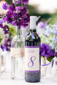 plum purple wedding table number ideas