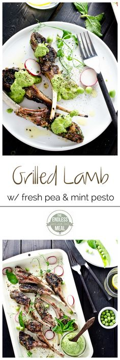 Grilled Rack of Lamb with Fresh Pea and Mint Pesto