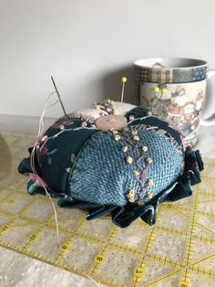 Excited to share the latest addition to my shop: Crazy quilted pincushion Small Quilt Projects, Quilting Projects, Cat Couch, Round Dog Bed, Dmc Embroidery Floss, Brown Trim, Sustainable Fabrics, Hammered Gold, Small Quilts