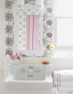 Black white pink bath