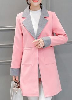 Turndown Collar Long Sleeve Pink Coat on sale only US$37.31 now, buy cheap Turndown Collar Long Sleeve Pink Coat at lulugal.com