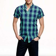 Short-sleeve Popover in Wild Pacific Gingham by J.Crew