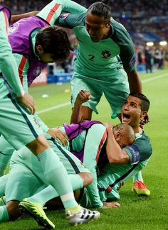 db1fcd15d60a0 Cristiano Ronaldo celebrating his goal with his teammates. Cristiano  Ronaldo Portugal