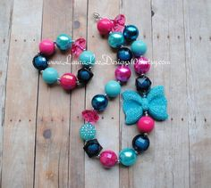 Hot Pink Aqua and Turquoise Bubblegum by LauraLeeDesigns108, $7.00