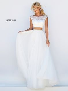 Long Sherri Hill 50038 Cap Sleeves Beaded Two-Piece Ivory Prom Dresses 2016 Ivory Prom Dresses, Prom Girl Dresses, Sherri Hill Prom Dresses, Prom Dresses 2016, Bridesmaid Dresses, Formal Dresses, Wedding Dresses, Dress Prom, Long Dresses