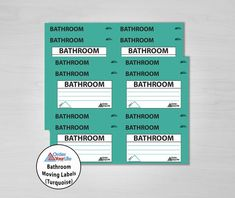 Bathroom Moving Labels (Turquoise)