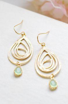 Gold Swirl Drop Pendant Mint Glass Drop Earrings