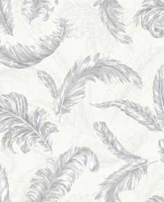Gilded Feather White and Silver Wallpaper