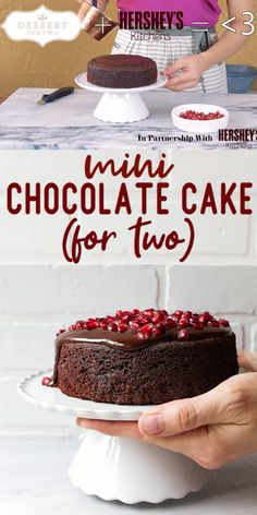 """Mini chocolate cake for two; perfect for celebrating anniversaries, date night, or just because: chocolate. Made in a 6"""" round cake pan for two servings. Cake for two is so romantic! Easy romantic desserts for two."""