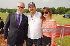 Jon Zammett, Head of PR for Audi UK, Tom Hardy and Charlotte Riley attend day one of the Audi Polo Challenge at Coworth Park on May 28, 2016 in London, England.