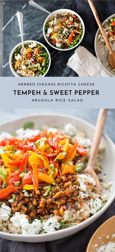 Guys this salad is really really good. And it's so simple and easy to make. The peppers are just quickly roasted in the oven while you're prepping everything else. And the rice can be made in a rice cooker or F it, just microwave the frozen stuff - done in just 3 minutes. And the tempeh is q
