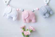 Virkattu norsuvaunulelu, crochet elephant, virkattu norsu Crochet Elephant, Baby Elephant, Knitting For Kids, Baby Knitting Patterns, Handgemachtes Baby, Nursery Bunting, Crochet Mobile, Handmade Baby Gifts, Some Ideas
