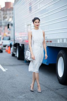 No. 4 —Caroline Issa There's something lovely and easy about this light chiffon dress worn with snakeskin Paul Andrew pumps — it's a refreshingly calm moment among the street-style chaos.