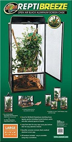 Zoo Med Reptibreeze Open Air Aluminum Screen Cage - Black - X-Large x x in 4 sizes: Small, Medium, Large and Extra Large.Great for small species of Old World Chameleons, hatchling Green Iguanas, geckos (including Crested G Terrariums, Terrarium For Sale, Large Terrarium, Chameleon Terrarium, Terrarium Reptile, Baby Chameleon, Veiled Chameleon, Chameleon Care, Large Reptile Cages