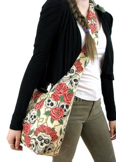 Schädel-Tasche - Hobo Bag - Crossbody Hobo - Bag Hippie - Tasche Boho Tasche - Hobo Purse - Slouch Bag - Goth Bag - Slouchy Hobo Bag - vegane Tasche
