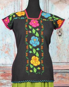 Black Floral Huipil Michoacan Hand Woven & Embroidered Mexico Hippie Boho Frida  #Handmade #blouse