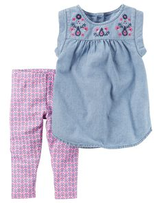 Baby Girl 2-Piece Embroidered Chambray Tunic & Printed Capri  Legging Set Featuring an embroidered chambray tunic and printed capri leggings, this warm weather combo has her dressed in a breeze.