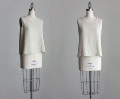 Natural Linen Blouse 90s Vintage Linen Tank Top Tunic by decades, $30.00