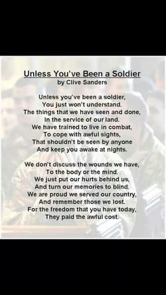 Unless You've Been a Soldier - Clive Sanders