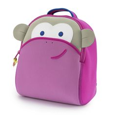 658bcf8cbb35 Little girls will blush with joy over this sweet and machine washable pink  monkey preschool backpack. Dabbawalla Bags