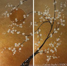 "XXL Abstract Painting Asian Blossom Zen Modern Original Textured Tree Art Painting by Gabriela 48""x48"" Original Abstract Textured Painting"