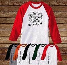 Merry Christmas Y'all Raglan T-Shirt/Christmas