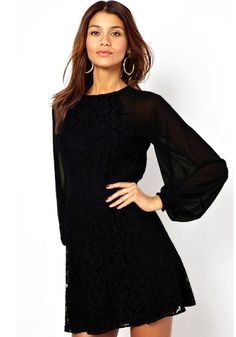 Love the Sleeves! Black Patchwork Grenadine Lace Party Dress #LBD #Party #Dress #Fashion