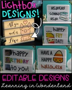 You are purchasing a bundle of light box designs you can use for your classroom or home. This file has been completed with it& third update on What is a light box? A light box is a fun marquee style box that lights up! Classroom Setting, Classroom Design, Future Classroom, Classroom Themes, Classroom Organization, Class Decoration, School Decorations, Licht Box, Light Board