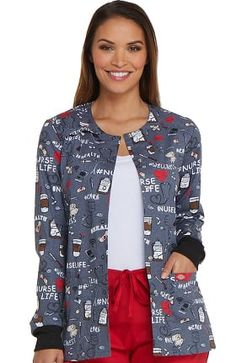 321fbe6c5f2 Clearance Fashion Prints by Dickies Women's Snap Front Nurse Print Scrub  Jacket