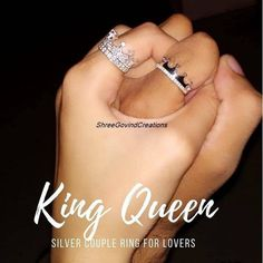 Matching Promise Rings, Promise Rings For Couples, Matching Rings, Crown Promise Ring, Matching Necklaces For Couples, Silver Promise Rings, King Queen Rings, King Ring, Couple Ring Design