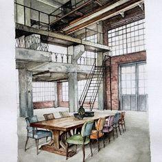 Interior sketch by @rizkyfr_ #drawuroom #sketch #interiordesign #interiorsketch #drawing