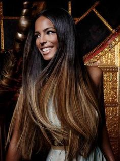 Long Beautiful hair Brown and black # Elegant Hair # Almost dip dye Hair without trying!
