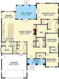 2073 Sq ft Perfect but for 1 featurehusband would not like master closet entry in bathroom Fetching Craftsman House Plan Architectural Designs House Plans New House Plans, Dream House Plans, Small House Plans, House Floor Plans, My Dream Home, Ranch Floor Plans, 2200 Sq Ft House Plans, 3 Bedroom Home Floor Plans, The Plan