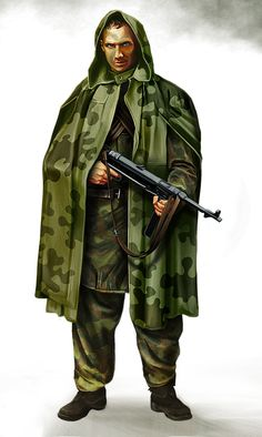 Soviet scout... again. I'll be redoing some of the crappier characters in my gallery. I'm happier with this than with the original one [link] . The gun is a german MP40, I thought it would be cool to give a captured weapon to a soldier who works behind enemy lines