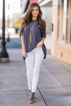 """""""Set On You Top, Charcoal""""We are totally set on this top! It's so causal and comfy! The jersey knit fabric has a lot to do with the comfort but so does the loose cut! #newarrivals #shopthemint"""