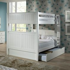 Bunk Bed With Trundle, Bunk Beds With Stairs, Cool Bunk Beds, Kids Bunk Beds, Full Size Bunk Beds, Small Bedroom Designs, Bed Designs, Sharing Bed, Loft Spaces