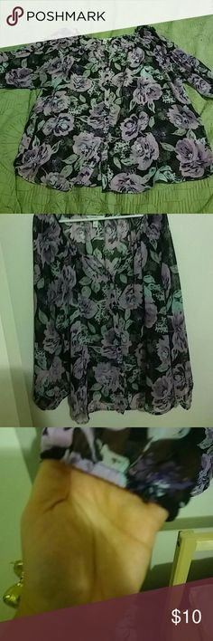 Croft and Barrow chiffon blouse Button up, all buttons intact, gathered sleeves, black boho top with purple flowers, and grey and sea green leaves.  Great tucked in with a pair of jeans or with a pair of leggings And black knee high boots. Tops Blouses