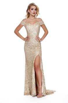 688a2381ec867 Off The shoulder Body Hugging Sequin Red Carpet Style Gold Prom Dress 12229