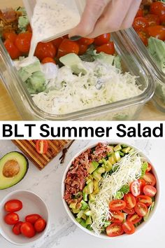 Healthy Meal Prep, Health And Nutrition, Healthy Eating, Healthy Recipes, Clean Eating, Summer Healthy Meals, Meal Prep Salads, Meal Prep Low Carb, Blt Recipes