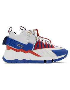 a4d1d2551b2 <h3>PIERRE HARDY</h3> White & Blue Victor Cruz Edition VC1 Sneakers