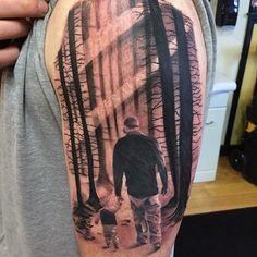 Man And Son In A Sun Light Forest Family Tattoo Guys Forearms